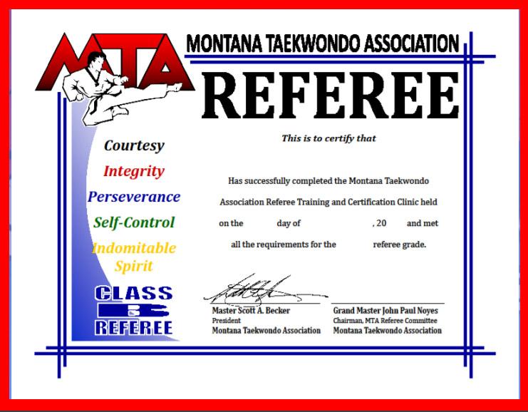 Referee Certificate - MT Taekwondo Association